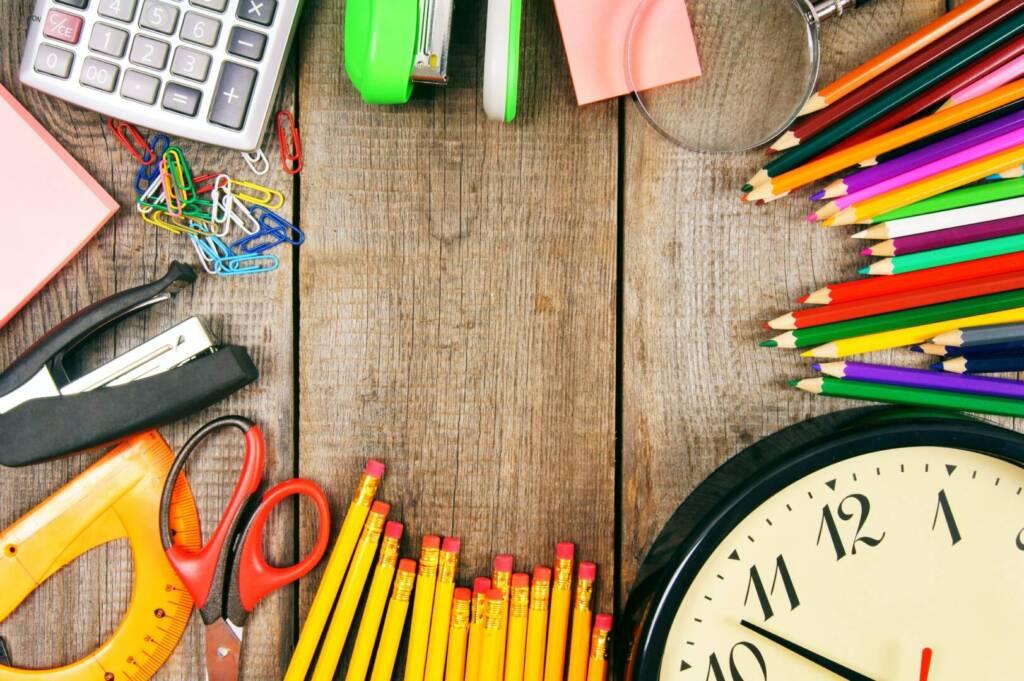 Back to school. School tools around.